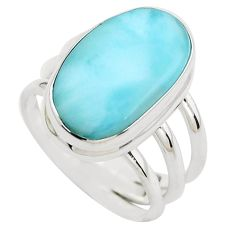 7.78cts natural blue larimar 925 silver solitaire ring jewelry size 7.5 p37991