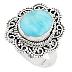 4.82cts natural blue larimar 925 silver solitaire ring jewelry size 6.5 p38002