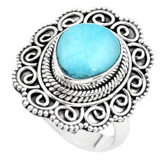 5.62cts natural blue larimar 925 silver solitaire ring jewelry size 7.5 p38013