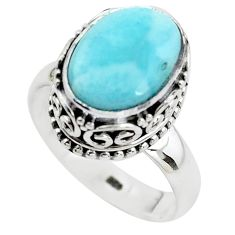 5.18cts natural blue larimar 925 silver solitaire ring jewelry size 8 p38021