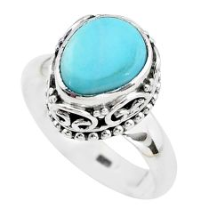 5.30cts natural blue larimar 925 silver solitaire ring jewelry size 8 p38031