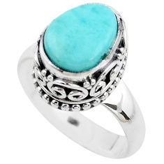 4.82cts natural blue larimar 925 silver solitaire ring jewelry size 8 p38035
