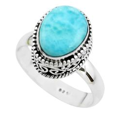 5.12cts natural blue larimar 925 silver solitaire ring jewelry size 8 p38038