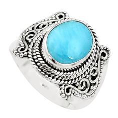 5.31cts natural blue larimar 925 silver solitaire ring jewelry size 8 p38161
