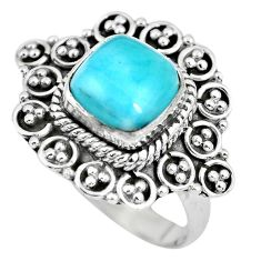 3.13cts natural blue larimar 925 silver solitaire ring jewelry size 7.5 p63066