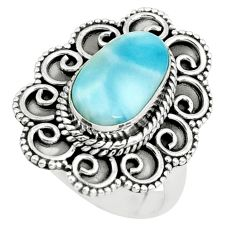 4.53cts natural blue larimar 925 silver solitaire ring jewelry size 7 p66783
