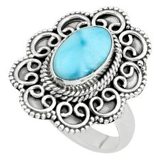 4.38cts natural blue larimar 925 silver solitaire ring jewelry size 9 p66810