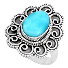 5.01cts natural blue larimar 925 silver solitaire ring jewelry size 9 p66813