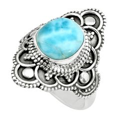 4.22cts natural blue larimar 925 silver solitaire ring jewelry size 6.5 p66838