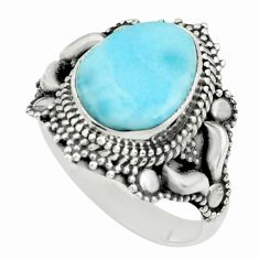 4.69cts natural blue larimar 925 silver solitaire ring jewelry size 7.5 p66842