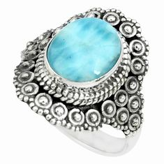 4.53cts natural blue larimar 925 silver solitaire ring jewelry size 7 p66866