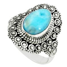 4.21cts natural blue larimar 925 silver solitaire ring jewelry size 7 p66871