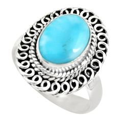 4.02cts natural blue larimar 925 silver solitaire ring jewelry size 7 p71061