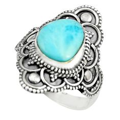 4.92cts natural blue larimar 925 silver solitaire ring jewelry size 7 p71134