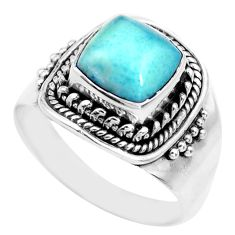 3.40cts natural blue larimar 925 silver solitaire ring jewelry size 7 p71581