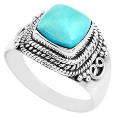 3.58cts natural blue larimar 925 silver solitaire ring jewelry size 7 p71582
