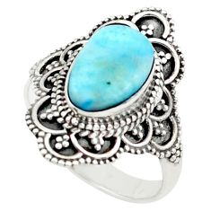 3.82cts natural blue larimar 925 silver solitaire ring jewelry size 7.5 p74889