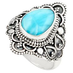 8.49cts natural blue larimar 925 silver solitaire ring jewelry size 7 p74893