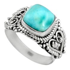 3.36cts natural blue larimar 925 silver solitaire ring jewelry size 6.5 p90122
