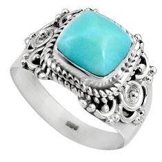 3.19cts natural blue larimar 925 silver solitaire ring jewelry size 6.5 p90123