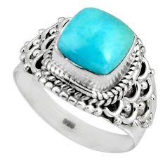 3.52cts natural blue larimar 925 silver solitaire ring jewelry size 7 p90126