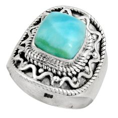 3.26cts natural blue larimar 925 silver solitaire ring jewelry size 6.5 p90129