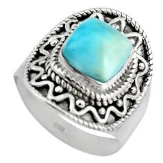 3.41cts natural blue larimar 925 silver solitaire ring jewelry size 6.5 p90130