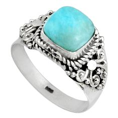 3.07cts natural blue larimar 925 silver solitaire ring jewelry size 7.5 p90135