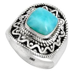 3.65cts natural blue larimar 925 silver solitaire ring jewelry size 7 p90139
