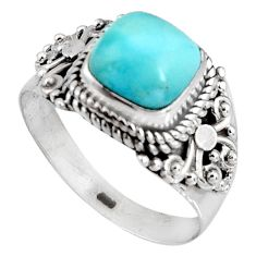 3.18cts natural blue larimar 925 silver solitaire ring jewelry size 8.5 p90140