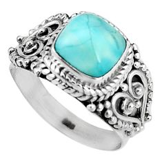 3.52cts natural blue larimar 925 silver solitaire ring jewelry size 7 p92517