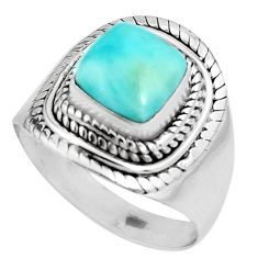 3.42cts natural blue larimar 925 silver solitaire ring jewelry size 7.5 p92518