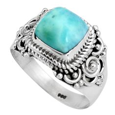 2.99cts natural blue larimar 925 silver solitaire ring jewelry size 6.5 p92530