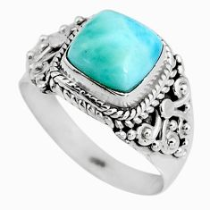 3.18cts natural blue larimar 925 silver solitaire ring jewelry size 6.5 p92533