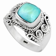 3.35cts natural blue larimar 925 silver solitaire ring jewelry size 8 p92540