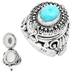 3.44cts natural blue larimar 925 sterling silver poison box ring size 6.5 p75541