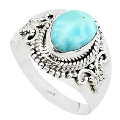 3.01cts natural blue larimar 925 sterling silver solitaire ring size 8.5 p38091