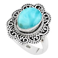 4.71cts natural blue larimar 925 sterling silver solitaire ring size 7.5 p38110