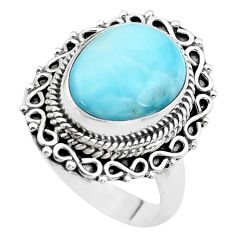 6.80cts natural blue larimar 925 sterling silver solitaire ring size 8 p38145