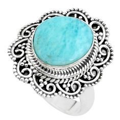 5.30cts natural blue larimar 925 sterling silver solitaire ring size 7.5 p38146
