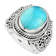5.95cts natural blue larimar 925 sterling silver solitaire ring size 6.5 p38147