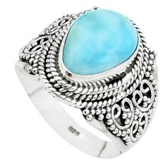 5.42cts natural blue larimar 925 sterling silver solitaire ring size 8 p38166