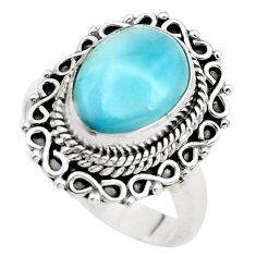5.26cts natural blue larimar 925 sterling silver solitaire ring size 7 p38167