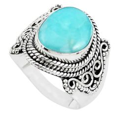 5.63cts natural blue larimar 925 sterling silver solitaire ring size 7 p38195