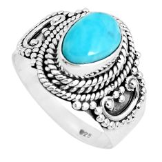 2.35cts natural blue larimar 925 sterling silver solitaire ring size 7.5 p47654