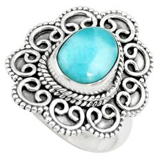 4.21cts natural blue larimar 925 sterling silver solitaire ring size 7 p71083