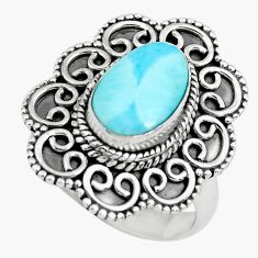 4.38cts natural blue larimar 925 sterling silver solitaire ring size 7 p71086