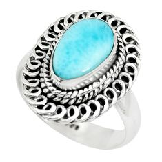 3.84cts natural blue larimar 925 sterling silver solitaire ring size 7 p71087