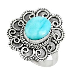 4.21cts natural blue larimar 925 sterling silver solitaire ring size 8 p71096