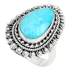 5.18cts natural blue larimar 925 sterling silver solitaire ring size 7 p71105